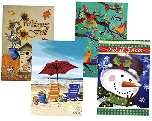 Morigins Seasonal Holiday Double Sided Garden Flags Set of 4 (12.5'x18')
