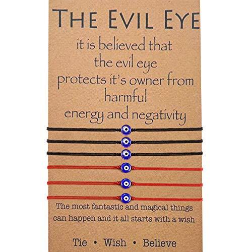 BOCHOI Red String Bracelet Kabbalah Evil Eye Protection Handmade Thread Lucky Bracelet for Women Girls Friendship Wish Bracelet for Daughter Son Grandmother Black (6Pcs) (Eye Evil String Red)