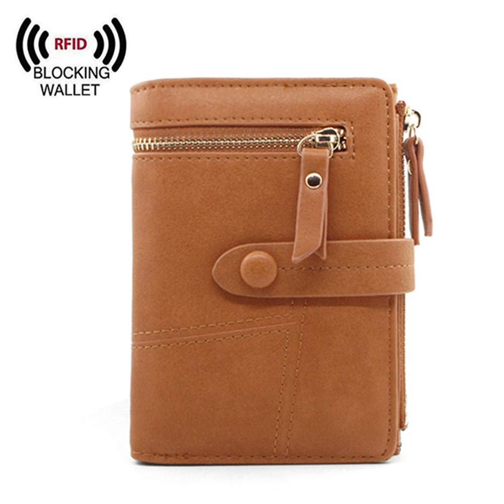 Women Small Wallet RFID Blocking Leather Bifold Card Holder Zipper Coin Purse (Light pink)
