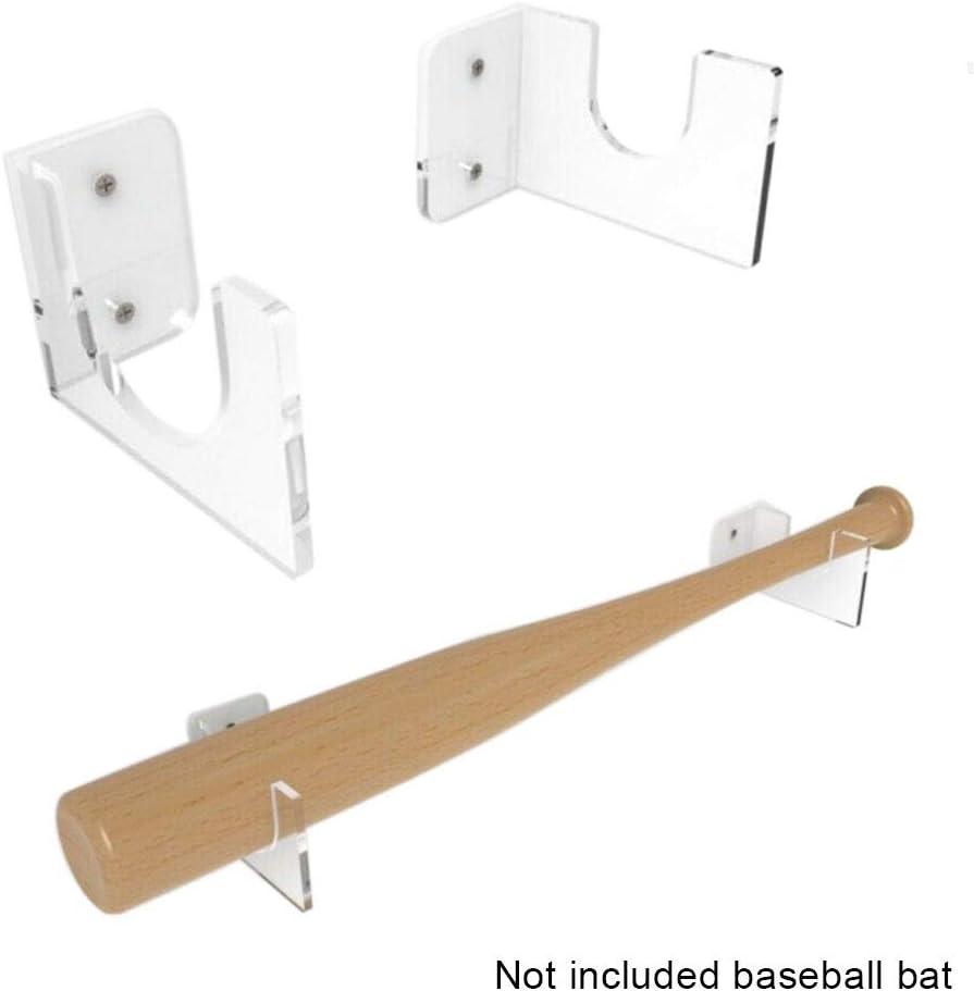 transparenter an der Wand befestigter Baseballschl/äger-Acrylhalter-horizontale Gestell-Klammern-Aufh/änger-Halter Soldmore7 Baseballschl/äger-Anzeigen-Halter