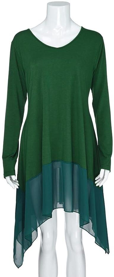 Overdose Blusa para Mujer Talla Grande con Dobladillo Irregular Manga Larga De Color Puro Camisa Suelta Top XXXXXL 5XL (XL, Verde): Amazon.es: Ropa y accesorios