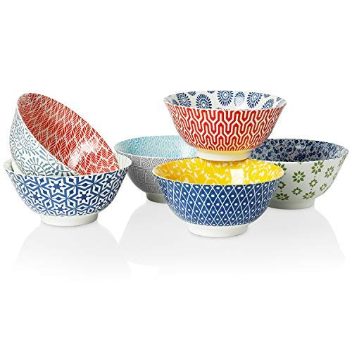 Chelsea Porcelain - Amazingware Porcelain Bowls - Perfect for Cereal, Soup, Salad and Pasta, Set of 6, Assorted Designs