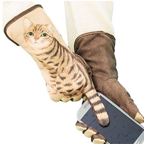 Yingniao Women's Gloves Lifelike Cat Suede Winter Warm Touch Screen Windproof Mittens Not Driving