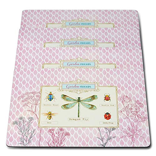 WHW Whole House Worlds Summer Garden Friends Place Mats, Laminated Boards, Cork Backing, Set of 4, Rustic Lavender Background with Multi Color Accents, 15 3/4 x 11 1/4 Inches, Heat Resistant