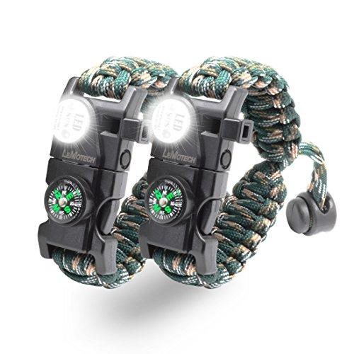 LeMotech 20 in 1 Adjustable Paracord Survival Bracelet,
