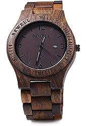 Gearbest Bewell ZS - W086B Wood Men Watch Analog Quartz Movement Date Display