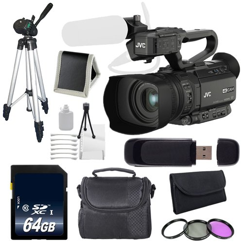 JVC GY-HM200 GYHM200 4KCAM Compact Handheld Camcorder (International Model) + 64GB SDXC Class 10 Memory Card + Full Size Tripod + Carrying Case + 62mm 3 Piece Filter Kit + Kit 6AVE Bundle