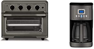 Cuisinart TOA-60BKS Convection Toaster Oven Airfryer, Black SS & DCC-3200BKSP1 Perfectemp Coffee Maker, 14 Cup Progammable with Glass Carafe, Black Stainless Steel