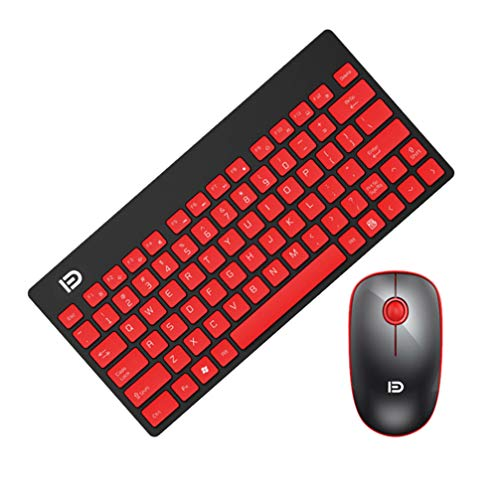 Mobestech Wireless Keyboard Mouse Combo Cordless Keyboard Mouse Set For PC Laptop (Black Red)