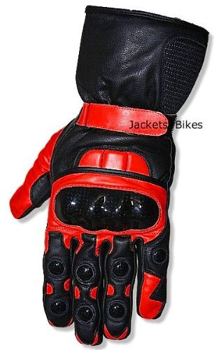 New Men's Motorcycle Bike Leather Street All Season Gloves Red L -