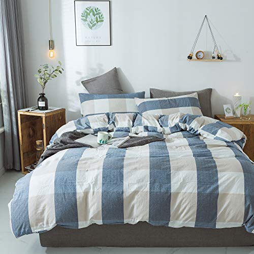 (Household 100% Cotton Duvet Cover 3 Piece Comforter Cover Set Simple Plaid with Zipper Closure (Blue White Grid, Queen))