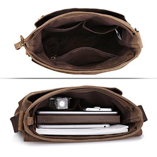 Satchel Leather Multi ZONE Messenger Coffee Bag Grey function bag Dark Single Crazy Horse Vintage S Business Shoulder Canvas Men v6IRwIOq