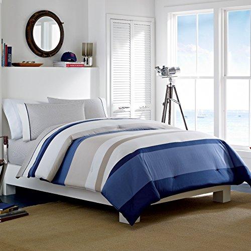 Nautica Grand Bank Duvet Cover Set, Blue/Tan, Striped, King