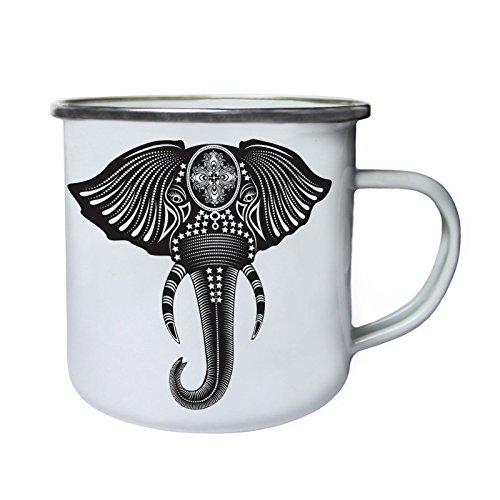 Bel éléphant noir ethnique Rétro, étain, émail tasse 10oz/280ml x956e