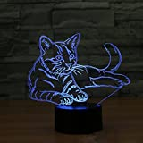 AMZStar USB/Battery Power 3D LED Night Light Touch Desk Lamp, 3D Optical Illusion Bedside Table Lamp 7 Colours Changing Sleeping Lighting Home Decor Lamp Gift for Kids (Cat)