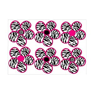 zebra print black and hot pink flowers wall stickers