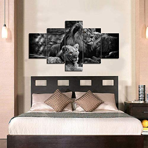 Modern Lion and Lioness Canvas Wall Art 5 Panels Black and White Lions Painting Prints on Posters Easy to Hang