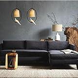 Nordic Countryside Resin Bird Creative Pendant Light Dining Room Room Bedroom Living Room Iron Chandelier, C