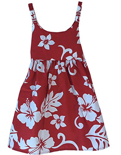Alohawears Clothing Company Made in Hawaii Girl's Hibiscus Classic Cruise Luau Hawaiian Aloha Bungee Dress (10, RED/White)
