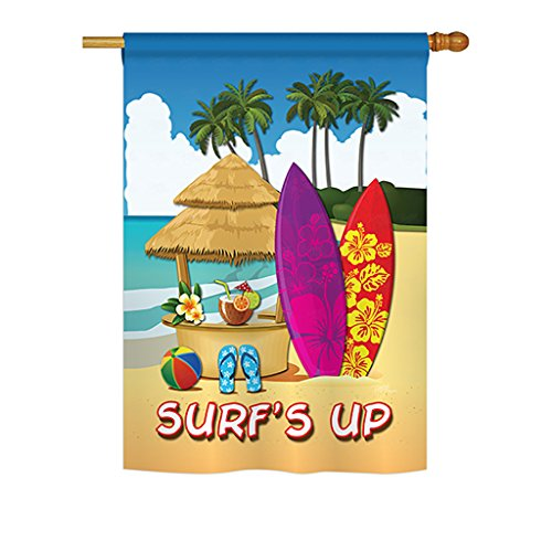 Breeze Decor - Surf's Up Hut Summer - Seasonal Fun In The Sun Impressions Decorative Vertical House Flag 28