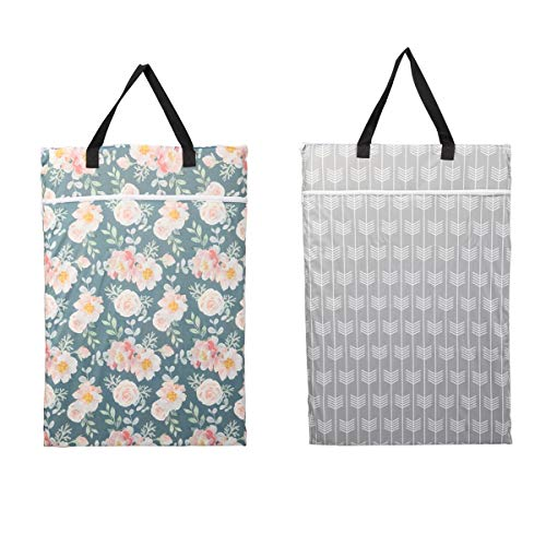 (2 Pack Large Hanging Wet Bags Laundry Pail Bags Cloth Diapers Reusable (Flowers Arrow) )