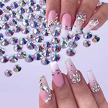 Amazon.com  1440Pcs Shiny Crystal Nail Rhinestone AB Silver Flat Back Stone  3D Glitter Jewelry Glass Charm Diamond Nail Art Decoration TR540 SS40AB  144pcs  ... e8b9efe4a635