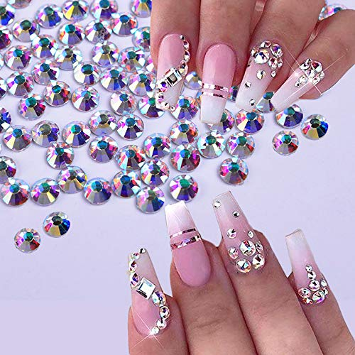 1440Pcs Shiny Crystal Nail Rhinestone AB Silver Flat Back Stone 3D Glitter Jewelry Glass Charm Diamond Nail Art Decoration TR540 SS12AB 1440pcs