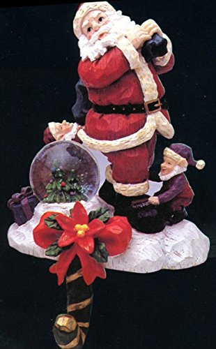 - Santa with Elf Helper, Christmas Stocking Hanger with mini Snow Globe. - Mantle Home Decor Made of Detailed Resin stone, Approx 8