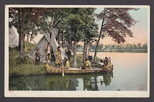 The Return of the Hunters Native American canoe teepee postcard 1911