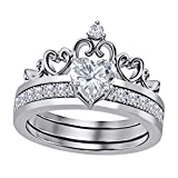 interchangeable ring - 14k Gold Plated Alloy Heart Shape 6MM Highest Quality Cubic Zirconia Round Interchangeable Crown Engagement & Wedding Ring Set Women's Jewelry Size 4-11