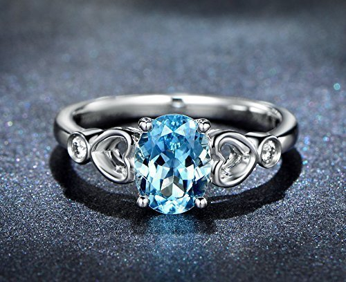 Solid 18K white gold promise ring,0.06ct SI-H Diamond Engagement ring,Oval 1.14ct Natural VVS blue Aquamarine,Prong (0.06 Ct White Diamond)