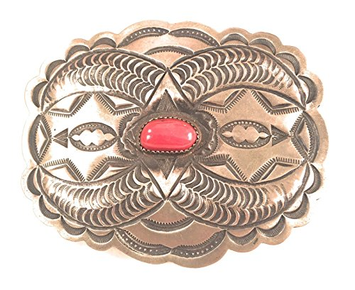 Estate Vintage Navajo Coral And Sterling Silver Hand Stamped Buckle from Nizhoni Traders LLC