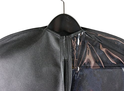 Caskyan 42'' Garment Bags, Breathable Black Non-Woven Fabric + Clear PVC for Dresses, Coats, Suits, Storage or Travel- 2 Pcs by CASKYAN