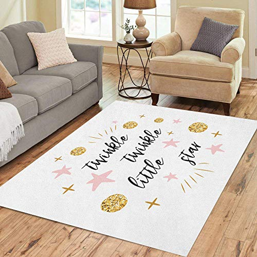 Semtomn Area Rug 3' X 5' Twinkle Little Star Text Cute Gold Pink Colors Home Decor Collection Floor Rugs Carpet for Living Room Bedroom Dining Room