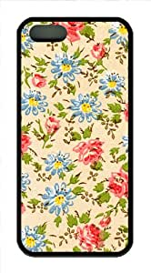 Fits iPhone 5 5s Floral Background Protective TPU Material Black Case Cover