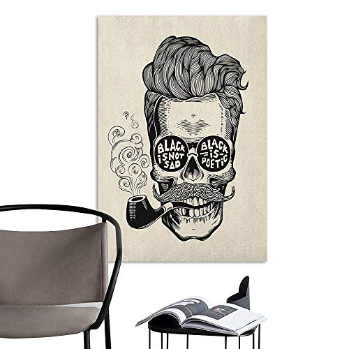 - Alexandear Art Decor 3D Wall Mural Wallpaper Stickers Indie Hipster Gentleman Skull with Mustache Pipe and Eyeglasses with Inscription Vintage Black Cream Elevator Stairs Wall W24 x H36