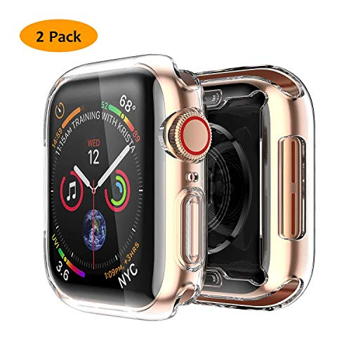 JuziTech Compatible with Apple Watch Series 4 44mm Screen Protector,TPU Full Around Protective Case High Definition Clear Ultra-Thin Cover for iwatch Series 4,2pack (Clear, - Heart 4.2 Ct