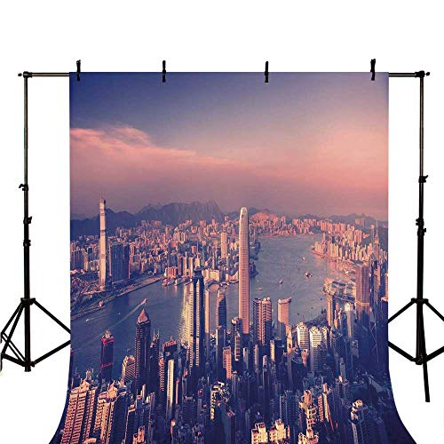 - City Stylish Backdrop,Dreamy View of Chinese City Hong Kong Urban Scene Concept Victoria Harbor for Photography,78.7