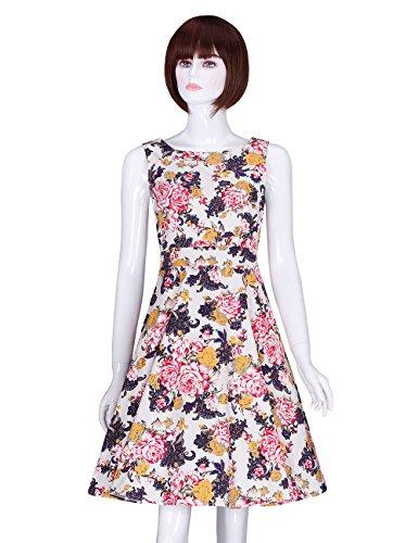 ADAMARIS Womens Elegant Summer Vintage Floral Printed Swing Dress with Belt