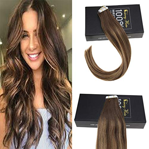 (Sunny 40pcs 100g 16inch Tape in Colored Hair Extensions Dark Brown Fade to Honey Blonde Balayage Double Weft Tape in Hair Extensions Real Human Hair)