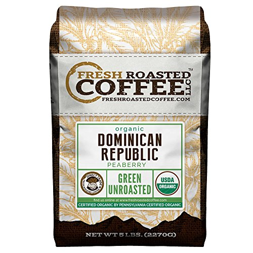 Green Unroasted Coffee Beans, 5 LB. Bag, Fresh Roasted Coffee LLC. (Dominican Republic Organic)