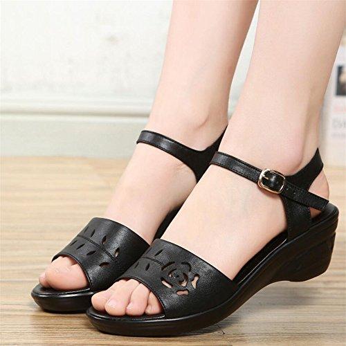 Sandalias Verano Mujer Zapatos Con La Parte Inferior De La Zapata Negro