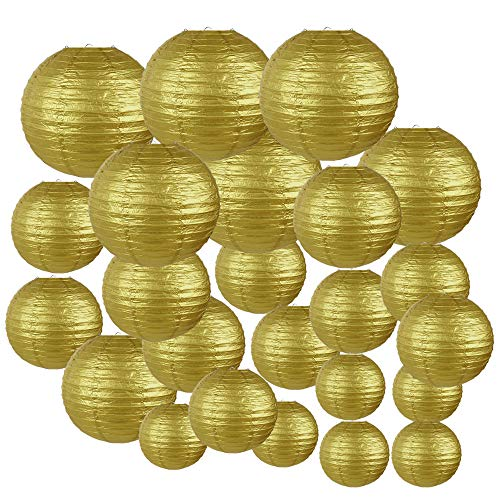 Gold Paper Lanterns (Just Artifacts Decorative Round Chinese Paper Lanterns 24pcs Assorted Sizes (Color:)