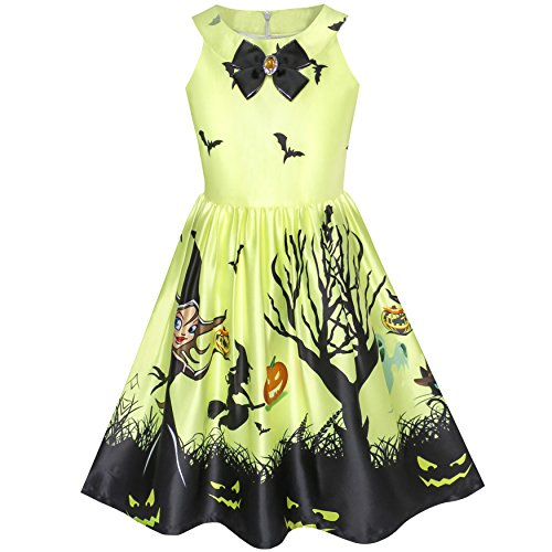 KZ53 Girls Dress Halloween Witch Bat Pumpkin Costume Halter Dress Size (Girls Bat Witch Costumes)