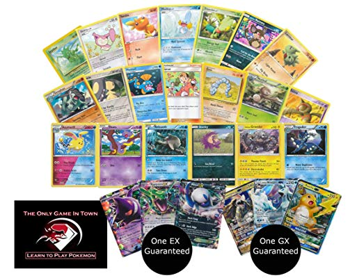 100 Pokemon Cards with 1 EX and 1 GX Ultra Rare Cards Plus Learn How to Play Pokemon Card Game Instructions (Best Pokemon Cards To Have)