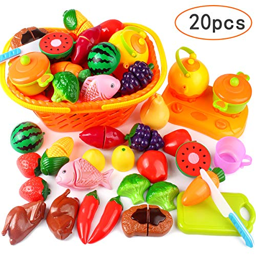 Play Foods Dinner Basket (Tomons Kids Pretend Food Toys, Cutting Fruits Vegetables Kitchen Play Food Set Toddlers Basket - 20 Pieces)