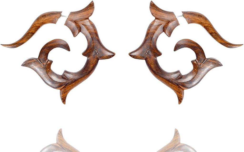 Ethnic Locket Design Wooden Handmade Brown Art Wood Fake Guage Earring WER409A