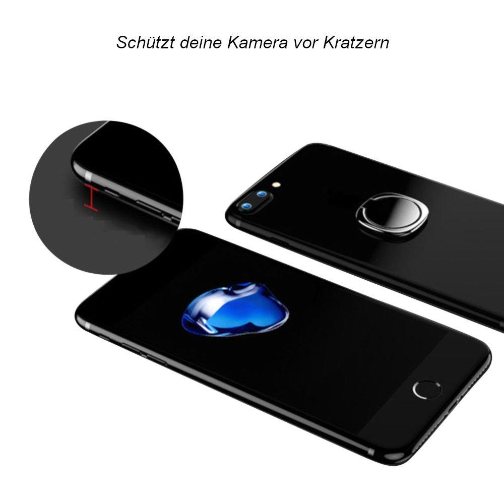 DoJuScho Smartphone Ring 360° drehbahre Fingerhalterung Smartphone Ständer Halter Ringhalterung Auto Selbstklebend für Optimale Einhandbedienung Selfi Handyhalterung (Schwarz)