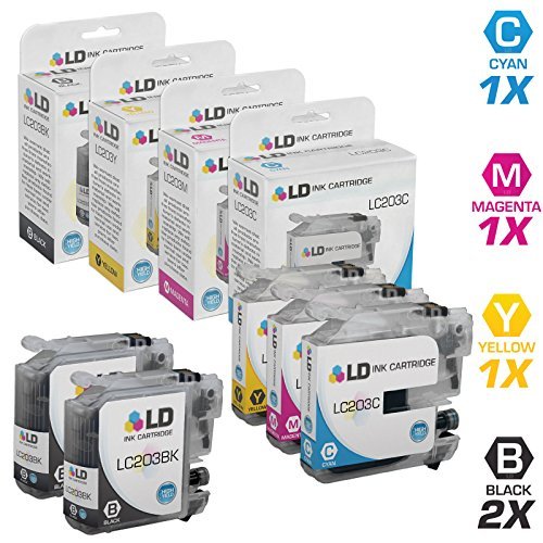 LD © Compatible Replacements for Brother LC203 5PK HY Ink Cartridges:2 LC203BK Black,1 LC203C Cyan,1 LC203M Magenta,& 1 LC203Y Yellow for MFC J4320DW, J4420DW, J4620DW, J5520DW, J5620DW,& J5720DW