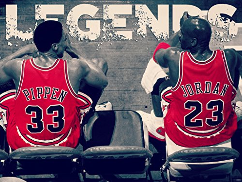 Poster Team Bulls Chicago - LEGENDS Scottie Pippen Michael Jordan Chicago Bulls Basketball BW Painting Art 32x24 Poster Print